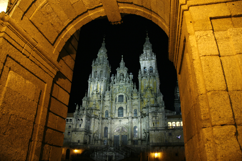 Saint James, Santiago de Compostela cathedral at night