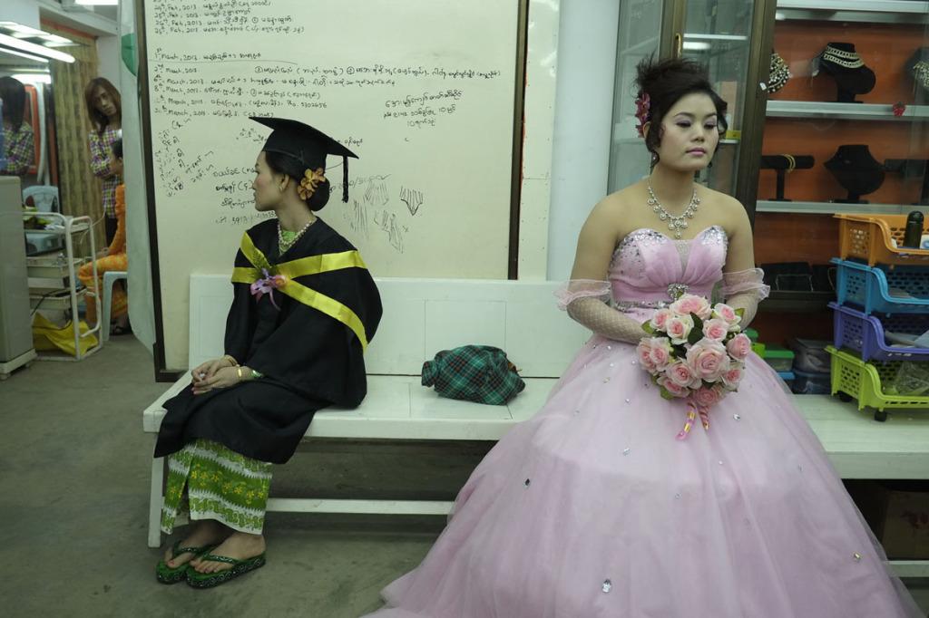 Bride waiting for groom at Beauty Salon Meiktila, Myanmar
